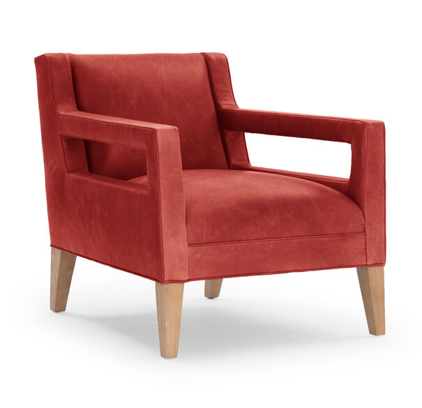 DUKE LEATHER CHAIR, MONT BLANC - CRIMSON, hi-res