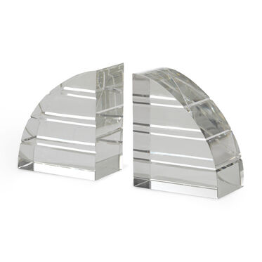 CLEAR CRYSTAL WITH HORIZONTAL FACET BOOKENDS, , hi-res