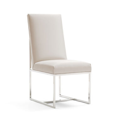 GAGE TALL DINING CHAIR - POLISHED STAINLESS STEEL, KOKO - WHITE, hi-res