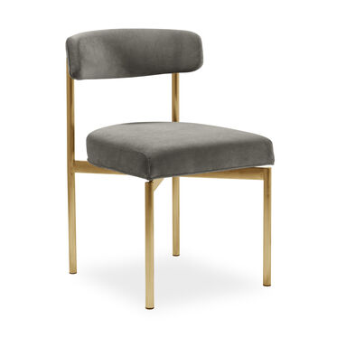 REMY DINING CHAIR - BRUSHED BRASS, BOULEVARD - GRAPHITE, hi-res