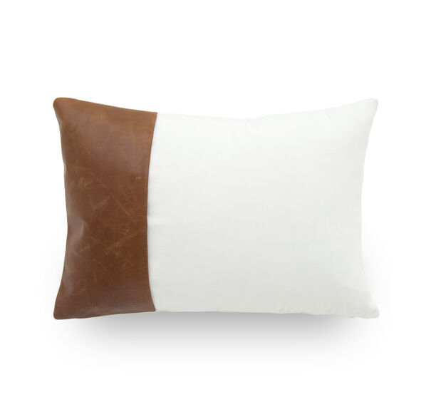 LEATHER AND COTTON COLOR BLOCK PILLOW - WHITE/SADDLE 20 X 12, , hi-res