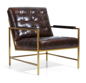 MAJOR LEATHER ARM CHAIR - BRUSHED BRASS, OLD WORLD - BURNISH, hi-res
