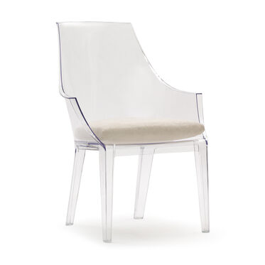 CLAIR CLEAR DINING CHAIR W/ CUSHION, SOFT SUEDE - STONE, hi-res