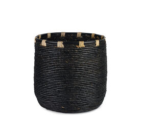 WOVEN BANANA LEAF BASKET- BLACK, , hi-res