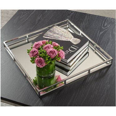 POLISHED STEEL LARGE SQUARE TRAY, , hi-res