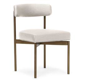 REMY DINING CHAIR -Vintage Brass, Vinyl - WHITE, hi-res
