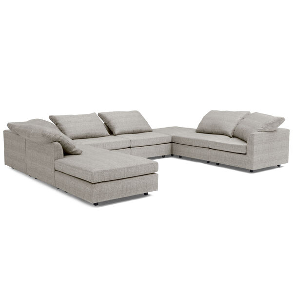BIG EASY 8-PC SECTIONAL, Sunbrella Performance Textured Two-Tone Linen - SILVER                             , hi-res