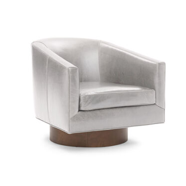 BIANCA FULL SWIVEL LEATHER CHAIR, MONT BLANC - MIST, hi-res