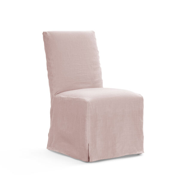 JULIA TALL SIDE DINING CHAIR - SLIPCOVER, BELGIAN LINEN - BLUS, hi-res