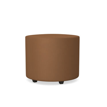 FRANNY LEATHER ROUND CHANNELED OTTOMAN, , hi-res