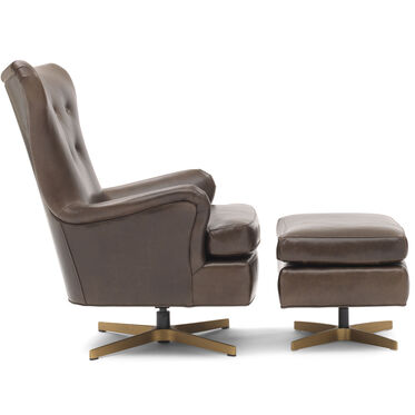 ORSON LEATHER SWIVEL CHAIR, MONT BLANC - SPANISH MOSS, hi-res