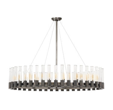 PERLA OVAL CHANDELIER - VINTAGE NICKEL AND CLEAR CRYSTAL, , hi-res