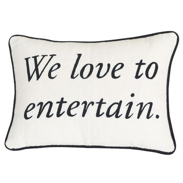 WE LOVE TO ENTERTAIN MANTRA PILLOW, , hi-res