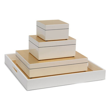 GOLD AND WHITE LACQUER BOX - SMALL, , hi-res