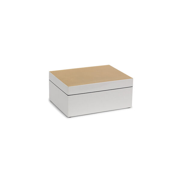 GOLD AND WHITE LACQUER BOX - MEDIUM, , hi-res