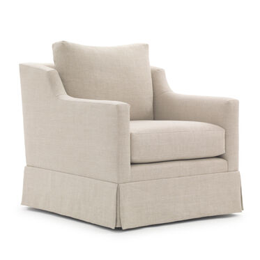 GIGI SKIRTED RETURN SWIVEL CHAIR, BELGIAN LINEN - OATMEAL, hi-res