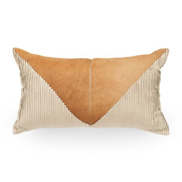 PINTUCK TAN LEATHER PILLOW, , hi-res