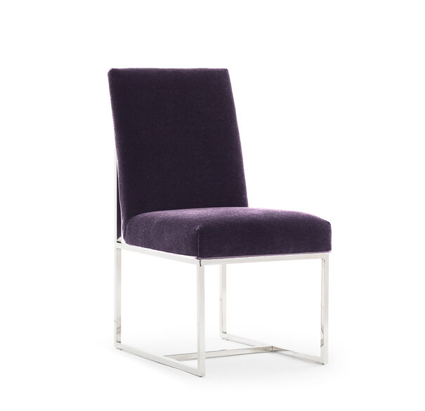 GAGE LOW DINING CHAIR, MOHAIR - AUBERGINE, hi-res