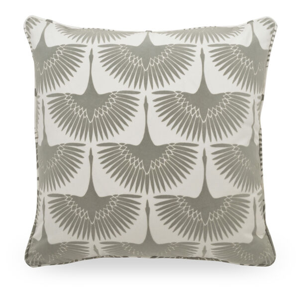 """COTTON 22"""" X 22"""" ACCENT PILLOW, BRUSSELS - SILVER, hi-res"""