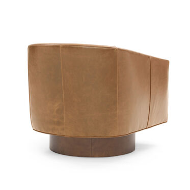 BIANCA RETURN SWIVEL LEATHER CHAIR, MONT BLANC - FAWN, hi-res