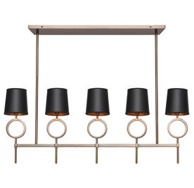 MARCO CHANDELIER - AGED BRASS BLACK SHADE, , hi-res