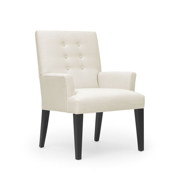 OLIVER ARM DINING CHAIR, Belgian Linen - White, hi-res