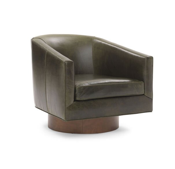 BIANCA RETURN SWIVEL LEATHER CHAIR, MONT BLANC - WINTER PINE, hi-res