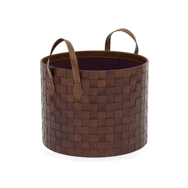 LEATHER STORAGE BASKET LARGE, , hi-res
