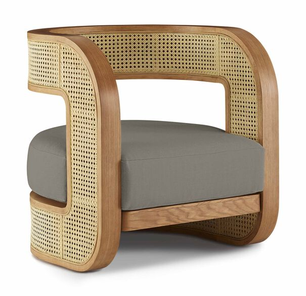 KIRBY CANED CHAIR, PERFORMANCE LINEN - GRAPHITE, hi-res
