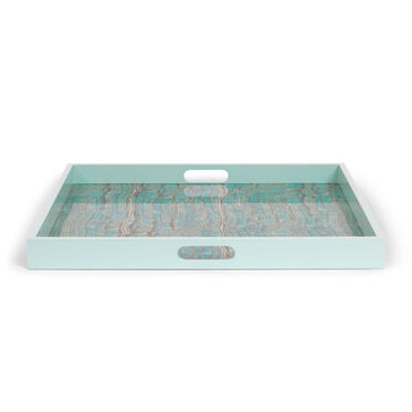 TURQUOISE FAUX ONYX TRAY, , hi-res