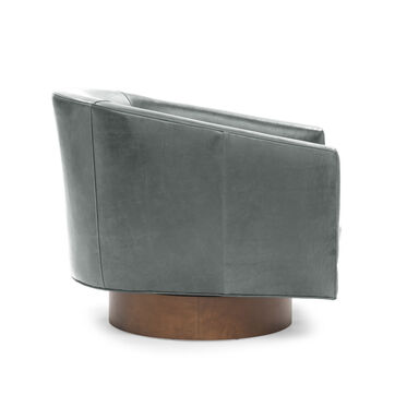 BIANCA FULL SWIVEL LEATHER CHAIR, MONT BLANC - WOLF, hi-res
