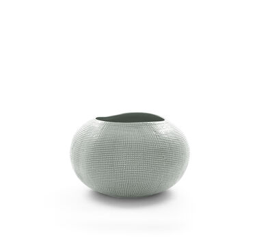 TEXTURED SILVER VASE - WIDE, , hi-res