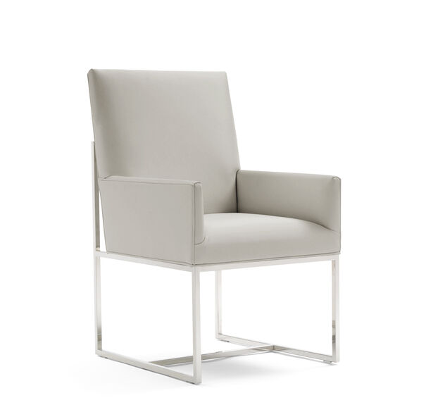 GAGE LOW ARM DINING CHAIR - POLISHED STAINLESS STEEL, KOKO - STONE, hi-res
