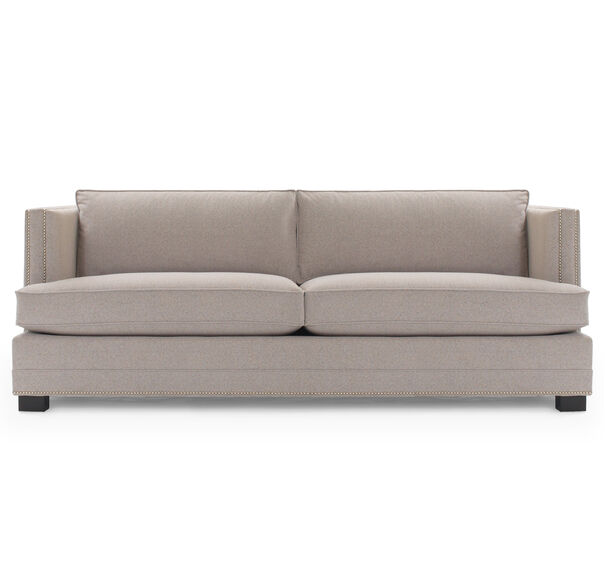 KEATON SHELTER ARM SOFA CLASSIC DEPTH WITH NAILHEAD, FULMER - TAUPE, hi-res