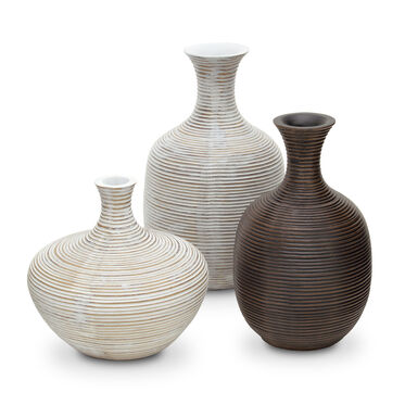 GROOVED BROWN SHORT VASE, , hi-res
