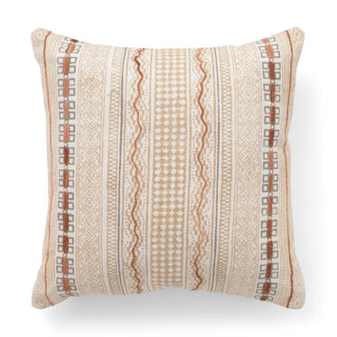 HAND BLOCKED STRIPE AND CHENILLE PILLOW, , hi-res