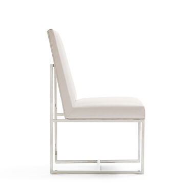 GAGE LOW DINING CHAIR - POLSIHED STAINLESS STEEL, KOKO - WHITE, hi-res