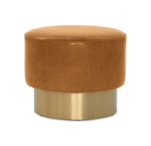 MARGAUX LEATHER  SWIVEL OTTOMAN, MONT BLANC - FAWN, hi-res