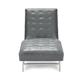MAJOR LEATHER CHAISE, MONT BLANC - IRON, hi-res