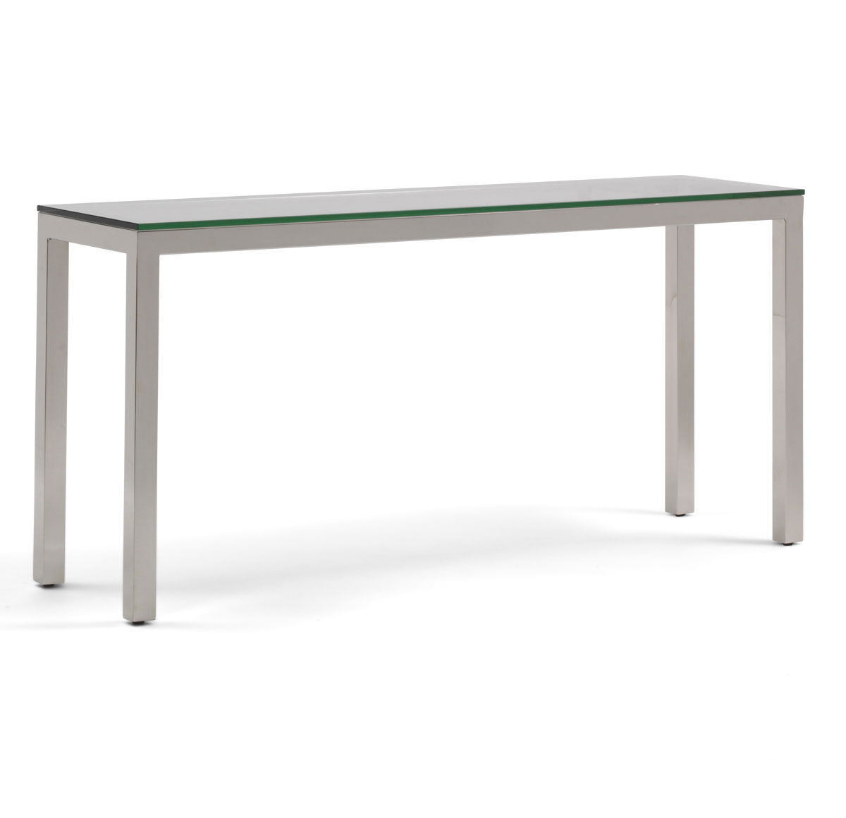 CLASSIC PARSONS CONSOLE TABLE   POLISHED STAINLESS STEEL, , Hi Res