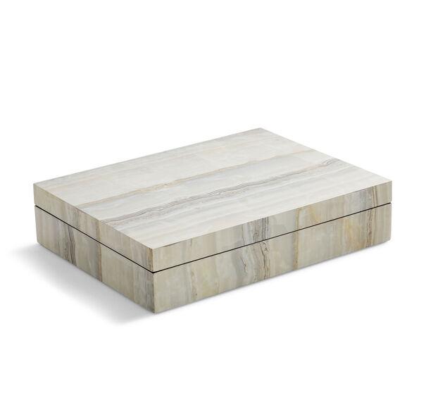 NATURAL FAUX ONYX LACQUER  BOX, , hi-res
