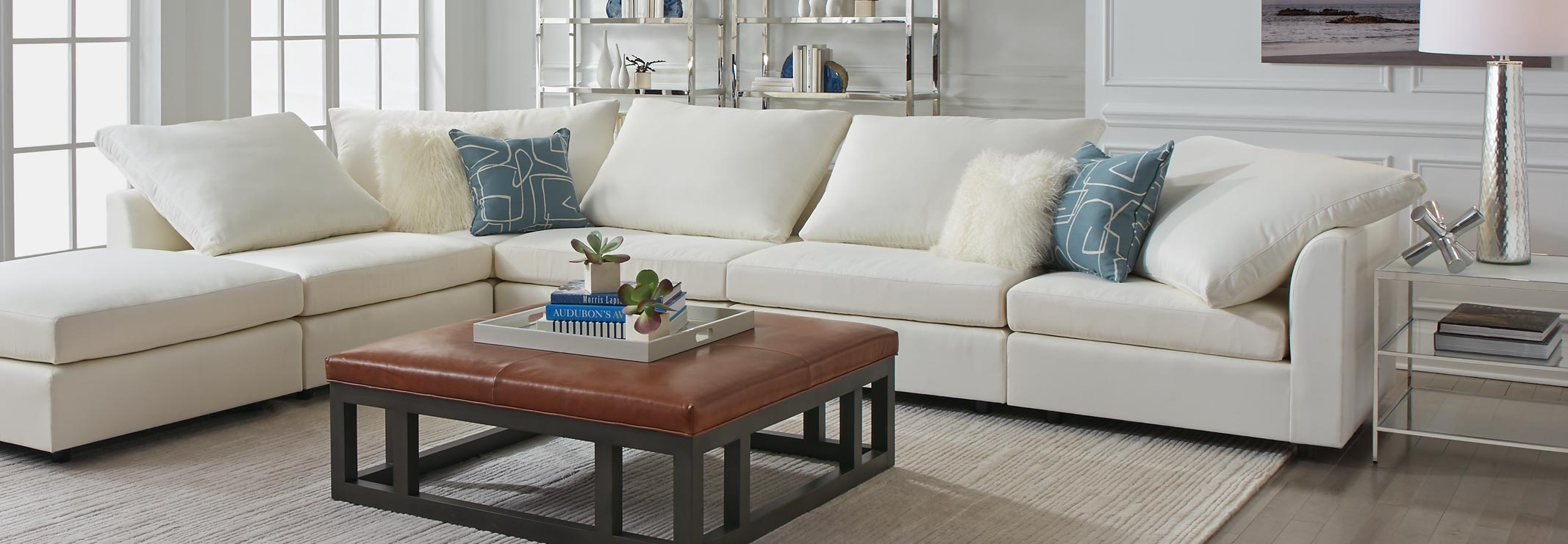 Franco Sectional and Patterson Ottoman