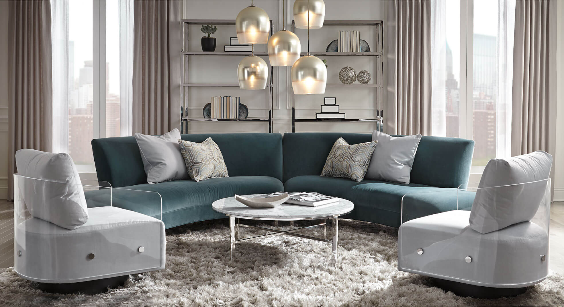 Lucy swivel chairs and Living room setting