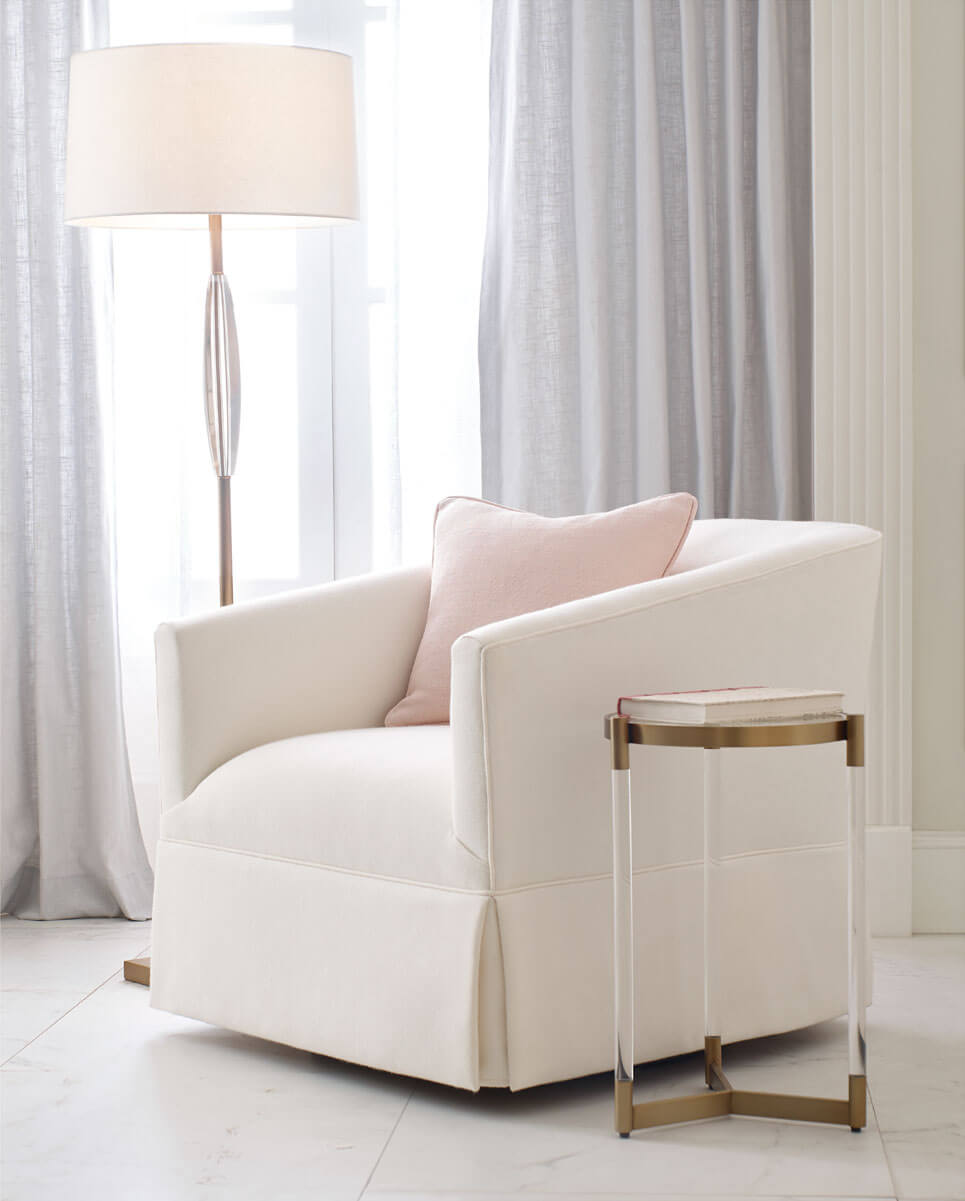 Cooper Skirted Swivel Chair with Beverly Pull-Up Table