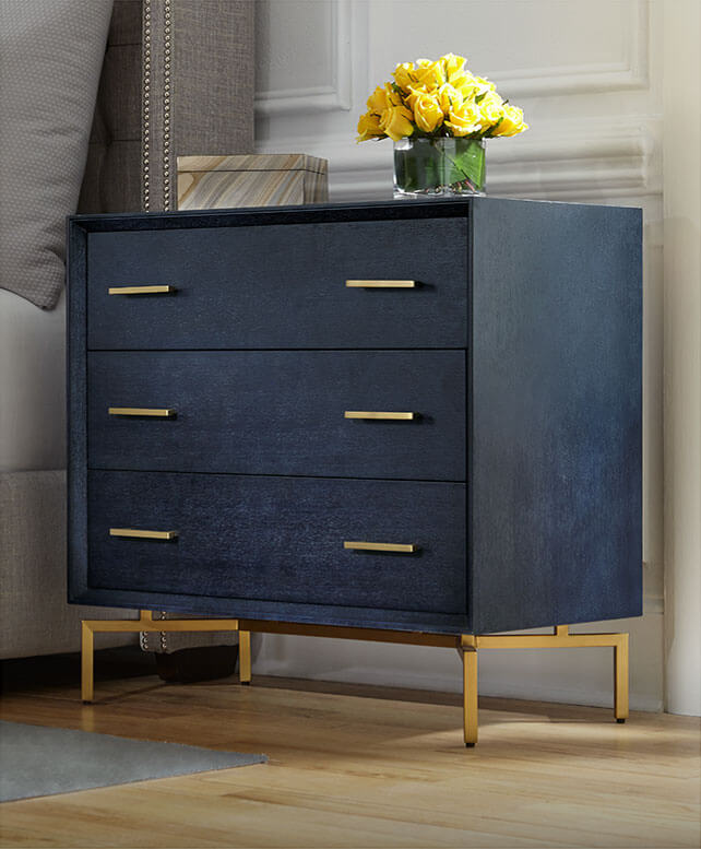 Ming 3 Drawer Chest in Indigo/Brass