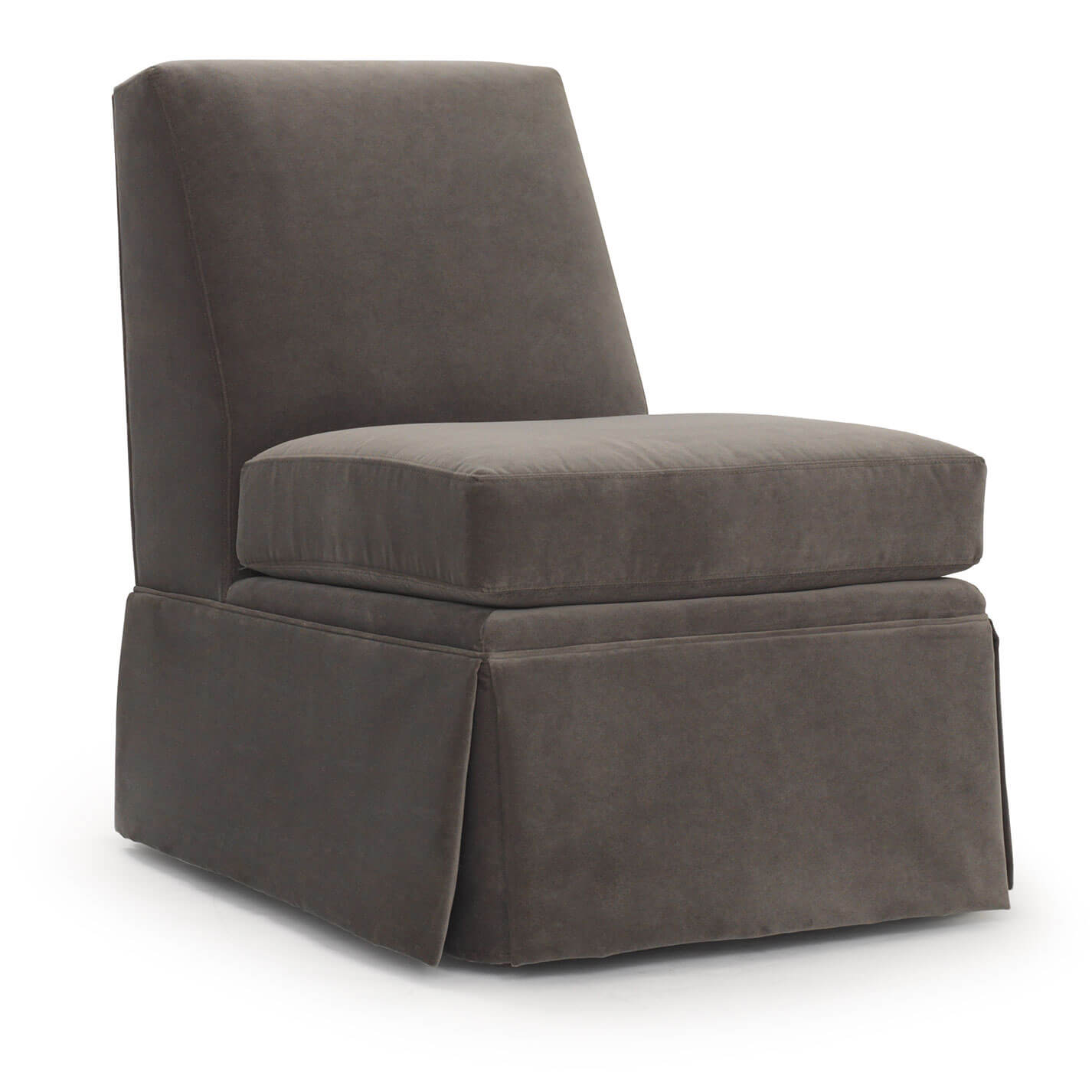 Annie Skirted Chair in suede