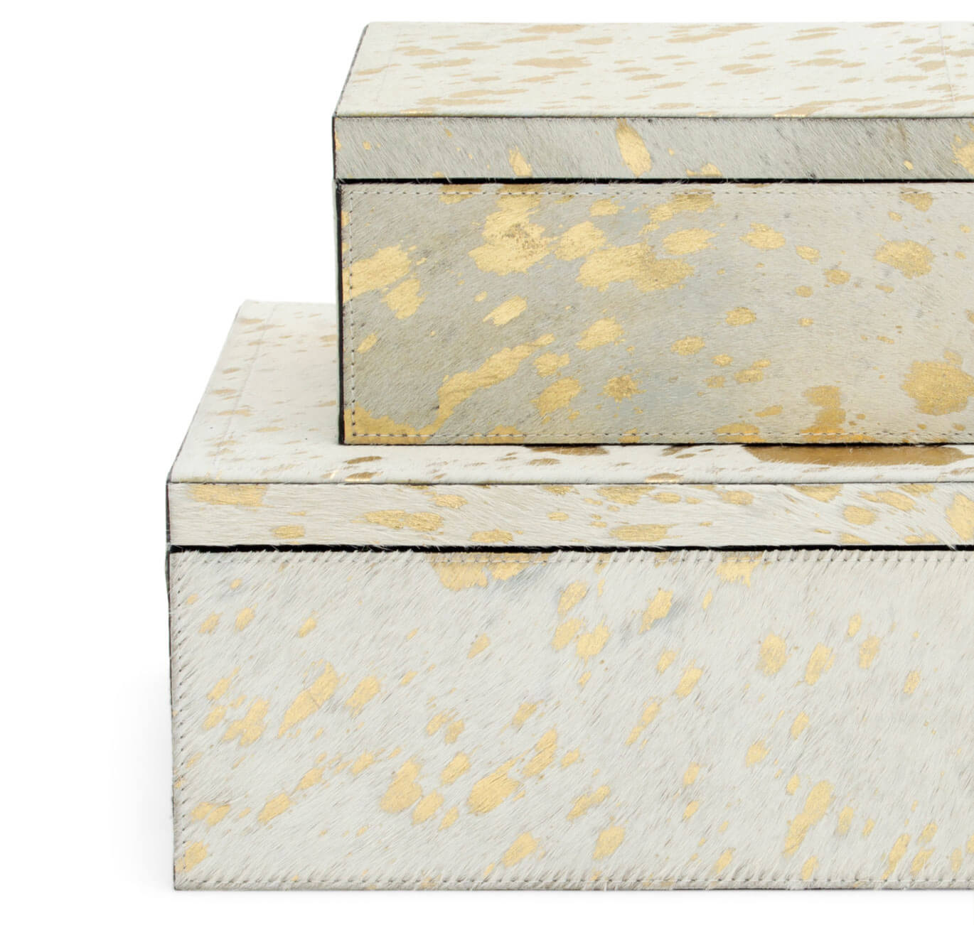 Gold on White Hide Boxes Side View