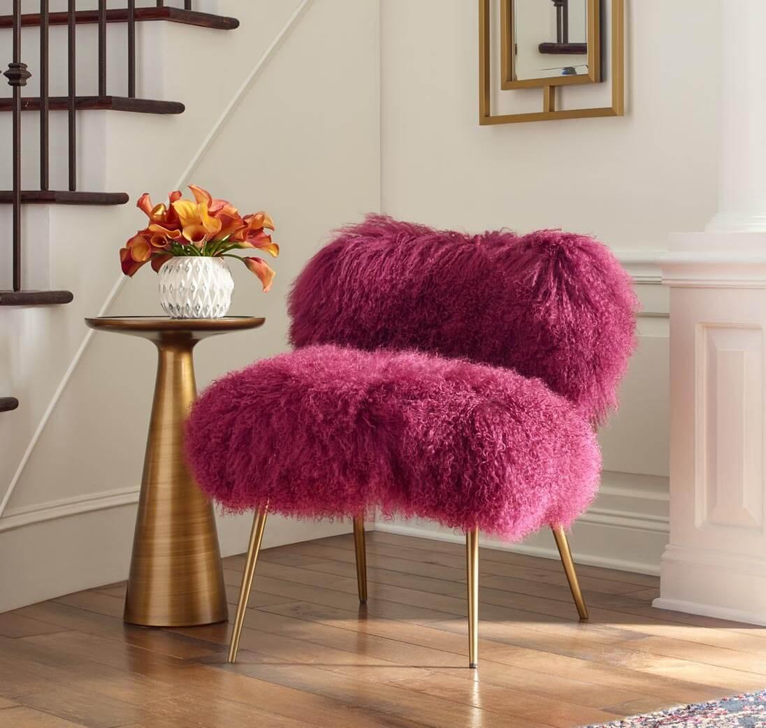 Fifi Chair in Orchid Tibetan Fur