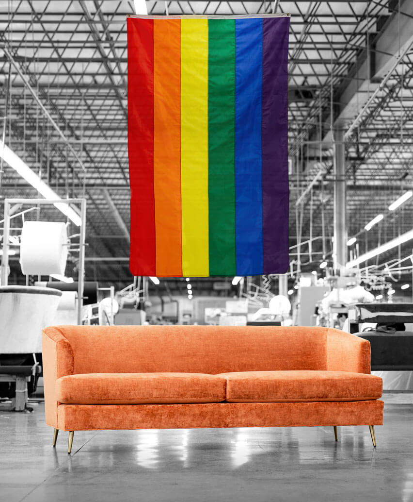 Coco Sofa with Pride Flag