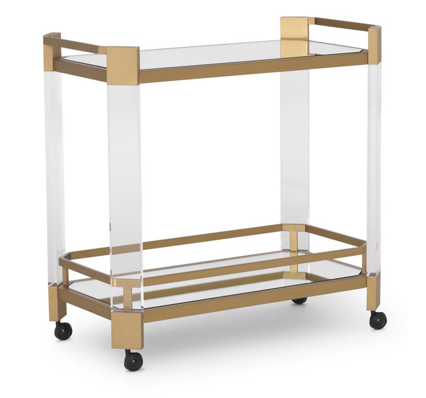 Melrose Bar Cart shown in brass